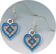 NEW! Cute blue Ladies Auxiliary cut-out heart earrings. Only $9.95. ladi auxiliari, blue ladi, 995, auxiliari blue, blue cutout, vfw store, auxiliari cutout, blues, cutout heart