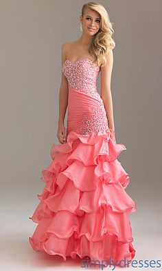 Strapless Beaded Ball Gown by Night Moves 6425 at SimplyDresses.com
