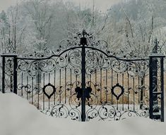Welcome Friends winter snow, wrought iron gates, garden gates, winter wonderland, driveways, gardens, fences, entrance, black
