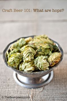This is a pretty and unique idea for table decor, dried whole-cone hops in a pewter bowl.