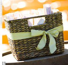 wicker baskets, idea, wedding programs, turquoise, hands