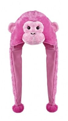 Pink Chimp Pom Hat at theBIGzoo.com, a toy store featuring 3,000+ stuffed animals.