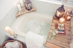 Bath tray. Brilliant. I always have a problem trying to find a place for my book, beverage and candles!