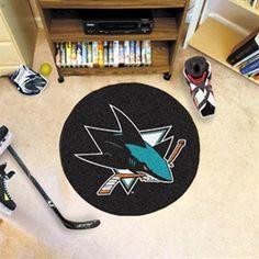 san jose sharks 26 5 black round hockey puck mat