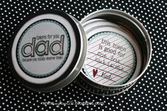 gift ideas, father day, token gift, token tin, fathers day gifts, dad gifts, tin gift, printabl
