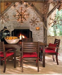holiday, christmas decorations, christma decor, outdoor living spaces, snowflakes, christmas ornaments, porch, pottery barn, christmas houses