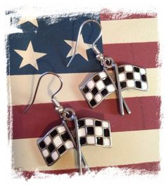 Chequered Flag Earrings
