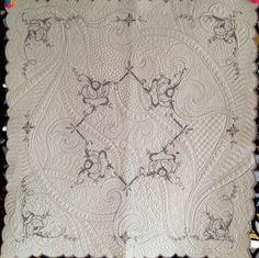 "30"" x 30"" vintage linen, machine quilted by Debbie Brown D'Ewart. Inspired by Sharon Schamber's Stipple Basics tutorial."
