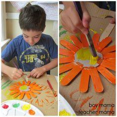 summer crafts, popsicle stick art, flower art, craft popsicle sticks, sunflow craft, sunflow art, stick sunflow, kid crafts, popsicl stick