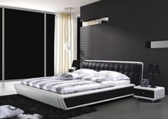black and white and red bedroom   Black and white Bedroom Design