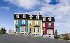 3 houses in a row! goo.gl/33uo5 canada, newfoundland, exterior houses, color hous, st john, colorful houses, travel, place, jelly beans