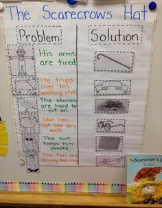 We read 'The Scarecrow's Hat' (super cute story!). We started our anchor chart by filling in the problem that each character had in the story.  I used the pictures for the anchor chart from Plant Press blog!
