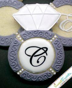 Wedding Engagement Ring Cookies  by SweetTweetsOnline