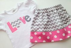 """Girls' Valentine's Day Pink and Gray Chevron """"Love"""" Applique Onesie or T-Shirt, Twirl Skirt, and Headband - Valentine's Day Outfit. $40.99, via Etsy."""