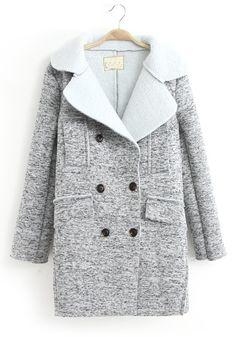 ++ light grey tailored collar wool coat