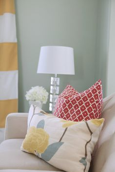 Love all these colors together, wall paint is Benjamin Moore Palidian Blue- House of Turquoise