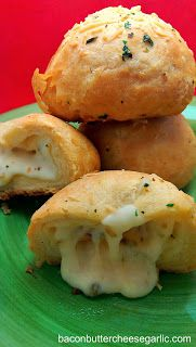 Cheesy Biscuit Bombs...buttery biscuits, Pepper Jack Cheese & Parmesan, garlic and herbs...crazy good!  I'm hooked!