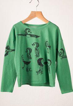 Bobo Choses   LS Bird Print T-shirt green