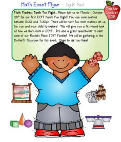 N. Paul created this great eye-catching flyer for a math event at the school. It looks like fun. :) Awesome use of our 'Kidoodlez Science & Math' clip art!  DJ's Back to School Teacher Contest 2014
