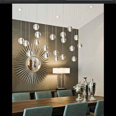 Colors, chandeliers, starburst mirror