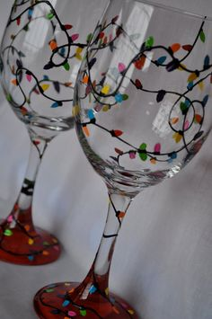 Hand Painted Christmas Lights Wine Glass Pair by simplyjdesigns