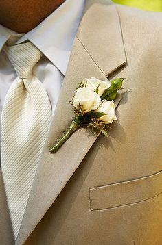 See, you silly man at the tuxedo shop, tan suite + ivory tie + white shirt DOES look good together! Tuxedo, Color Combos, Tie, Colors, White Shirts, Groom Suits, Boutonnieres, Tan, Flower