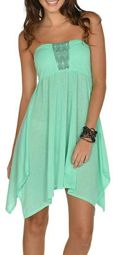 Mint Strapless Dress - Tunic - Coverup with Boho Embroidery on Chest
