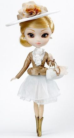 Pullip Clarity $89.95  - April Pullip loves shopping very much. She is a celeb well-off girl!  - April Pullip comes with elegant hat and blouse.  - She has firm eyebrows and her blond hair is so sexy!!  - Her skirt and see-through shorts and so neat and beautiful!!  - She has a beautiful blouse to appeal her beautiful body shape.