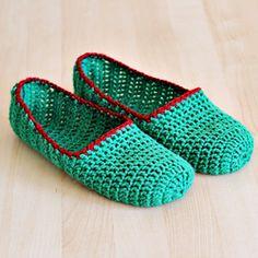 unas pantuflas de crochet