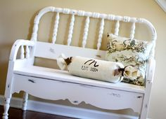 Trash to Treasure Headboard Bench - Really love the style of this one and she shows the steps along the way - by Somewhat Simple