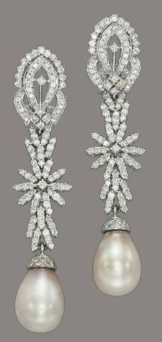 Natural pearl and diamond earrings. Christie's.