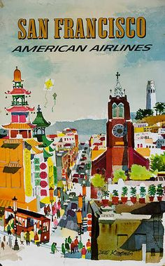 American Airlines - San Francisco vintage travel poster