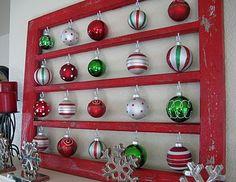 Christmas Decor holiday, old window frames, tree, old windows, window panes, vintage ornaments, vintage windows, handmade ornaments, diy christmas ornaments