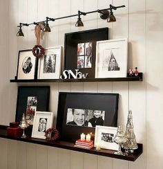 track lighting, floating shelves, galleri, photo displays, shelves with frames, wall shelves, lighting ideas, displaying maternity photos, pottery barn