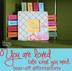 Design Dazzle: You are loved - take what you need... tear-off affirmations #RAOK design dazzl, tearoff affirm, rainbow parti, craft projects, idea 2013, teen crafts