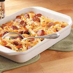"Penne and Smoked Sausage...I like the idea of mixing a few ""french onions"" into the casserole.   It will give it a bit of crunch I hope.  The flvours of smoked sausage and onions sounds too yummy.  For those days when you have company in the summer and it's not so hot outside.  Win-win!!!"