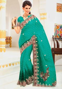 Sea Green Faux Chiffon Saree with Blouse @ $269.89