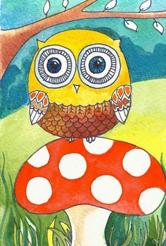 'Owl with a Red Mushroom' by Elina Lorenz