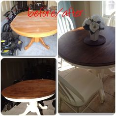 Round oak kitchen table painted and stained.  One of my pinterest accomplishments!  Only a few hundred more to go;) kitchen tables painted, kitchen table painted, round kitchen table diy, painted round kitchen table, oak kitchen table makeover