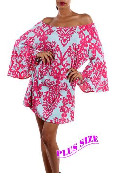 Pink and Baby Blue Printed Tunic Top - #blondellamydean #plussizefashion #plussize #curves
