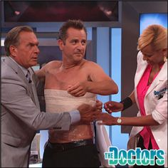 Pediatrician Dr. Jim Sears tests an overnight DIY tummy tightener. #TheDoctors