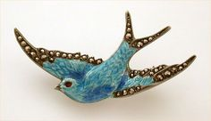 Sterling Blue Enamel Swallow Pin Marcasites Removable Safety Chain
