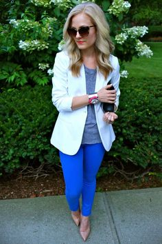 white blazer + gray top + cobalt pants + nude shoes