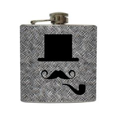 top hats, pipe flask, mustache flask