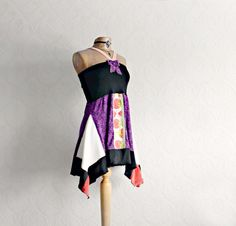Purple Halter Top Upcycled Clothing Black by BrokenGhostClothing, $62.00