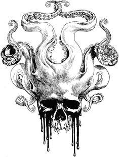 Skull by *KGBigelow on deviantART #tentacle #octopus #tattoo #idea