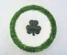 PLATE  Sparkle Shamrock Round Fused Glass by SunflowerGlassworks, $20.00