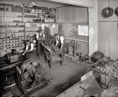 Electrical circuits and motors at Howard University in Washington, D.C., circa 1925.