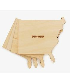 Coast to Coaster Set: Invite a little hometown spirit to cocktail hour with this set of beech wood coasters.