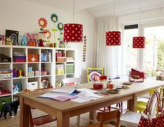 dining areas, dining rooms, polka dots, famili, light fixtures, kid rooms, light shades, long tables, craft rooms